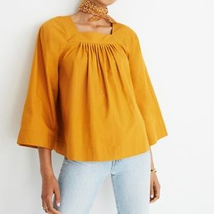NWT Madewell Square Neck Yellow Flowy Top